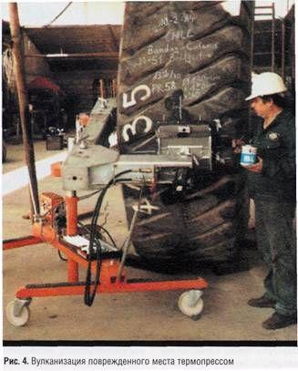 Вулканизация поврежденного места термопрессом