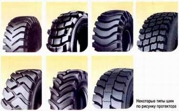 Некоторые типы шин по рисунку протектора